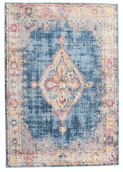 Cornelia - Tmavě Modrý Koberec 160X230 Moderní Bílý/Krém/Světle Modrý ( Turecko)