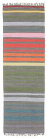 Rainbow Stripe - Šedá Koberec 80X250 Moderní Ruční Tkaní Běhoun Tmavošedý/Světle Šedá (Bavlna, Indie)