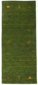 Gabbeh Loom Frame - Zelená Koberec 80X200 Moderní Běhoun Tmavě Zelený (Vlna, Indie)