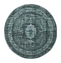 Jacinda - Tmavý Koberec Ø 200 Moderní Oválný Tyrkysově Modré/Tmavě Modrý ( Turecko)