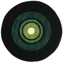 Schallplatte Handtufted Koberec Ø 150 Moderní Oválný Tmavě Zelený (Vlna, Indie)
