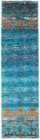 Quito - Turquoise Koberec 80X300 Moderní Ručně Tkaný Běhoun Tyrkysově Modré/Modrá (Hedvábí, Indie)