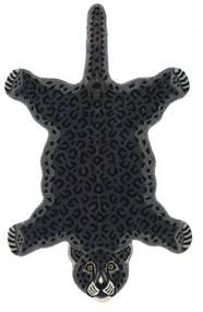 Leopard - Černá Koberec 100X160 Moderní Tmavošedý (Vlna, Indie)