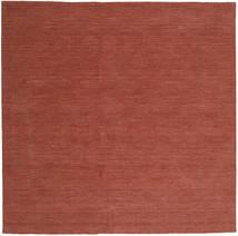 Kelim Loom - Červenožlutá Koberec 250X250 Moderní Ruční Tkaní Čtvercový Tmavě Červená Velký (Vlna, Indie)