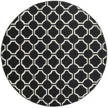 London - Černá/Bělavý Koberec Ø 225 Moderní Ruční Tkaní Oválný Černá (Vlna, Indie)