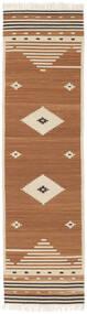 Tribal - Mustard Yellow Koberec 80X300 Moderní Ruční Tkaní Běhoun Hnědá/Světle Hnědá/Béžová (Vlna, Indie)