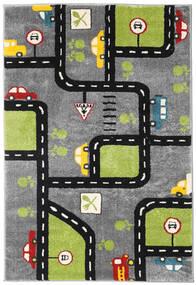 City Roads Koberec 120X180 Moderní Tmavě Hnědá/Černá ( Turecko)