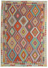 Kelim Afghán Old Style Koberec 206X287 Orientální Ruční Tkaní Tmavě Červená/Tyrkysově Modré (Vlna, Afghánistán)