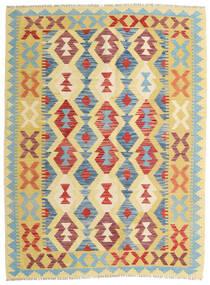 Kelim Afghán Old Style Koberec 133X179 Orientální Ruční Tkaní Tmavá Béžová/Červenožlutá (Vlna, Afghánistán)
