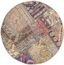 Patchwork - Persien/Iran Koberec Ø 100 Moderní Ručně Tkaný Oválný Světle Šedá/Tmavošedý (Vlna, Persie/Írán)