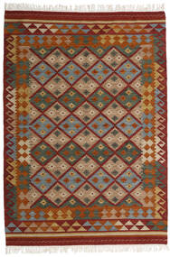 Kelim Adana Koberec 160X230 Moderní Ruční Tkaní Tmavě Červená/Tmavošedý (Vlna, Indie)