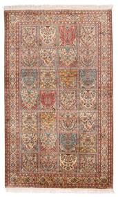 Kashmir Čistá Hedvábí Koberec 97X159 Orientální Ručně Tkaný Tmavě Hnědá/Béžová (Hedvábí, Indie)