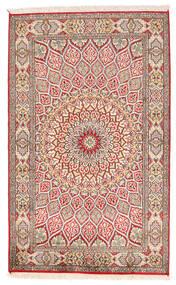 Kashmir Čistá Hedvábí Koberec 94X150 Orientální Ručně Tkaný Béžová/Světle Šedá (Hedvábí, Indie)