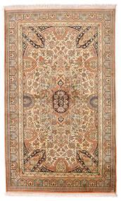 Kashmir Čistá Hedvábí Koberec 95X159 Orientální Ručně Tkaný Hnědá/Tmavá Béžová (Hedvábí, Indie)