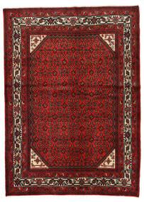 Hosseinabad Koberec 146X205 Orientální Ručně Tkaný Tmavě Červená/Červenožlutá (Vlna, Persie/Írán)