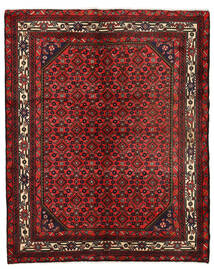 Hosseinabad Koberec 151X190 Orientální Ručně Tkaný Tmavě Červená/Tmavě Hnědá (Vlna, Persie/Írán)