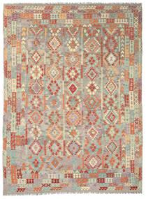 Kelim Afghán Old Style Koberec 292X393 Orientální Ruční Tkaní Světle Šedá/Tmavá Béžová Velký (Vlna, Afghánistán)